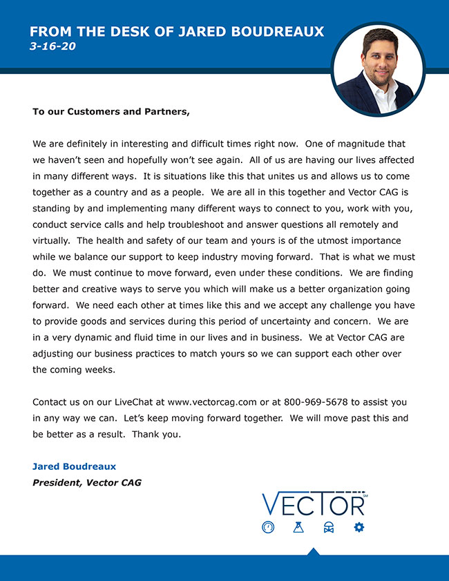 Vector CAG COVID-19 Letter from Jared Boudreaux