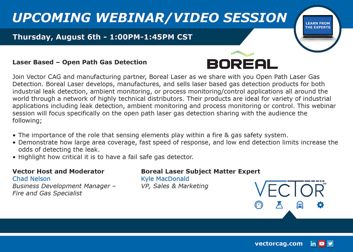 Vector Webinar: Laser Based – Open Path Gas Detection